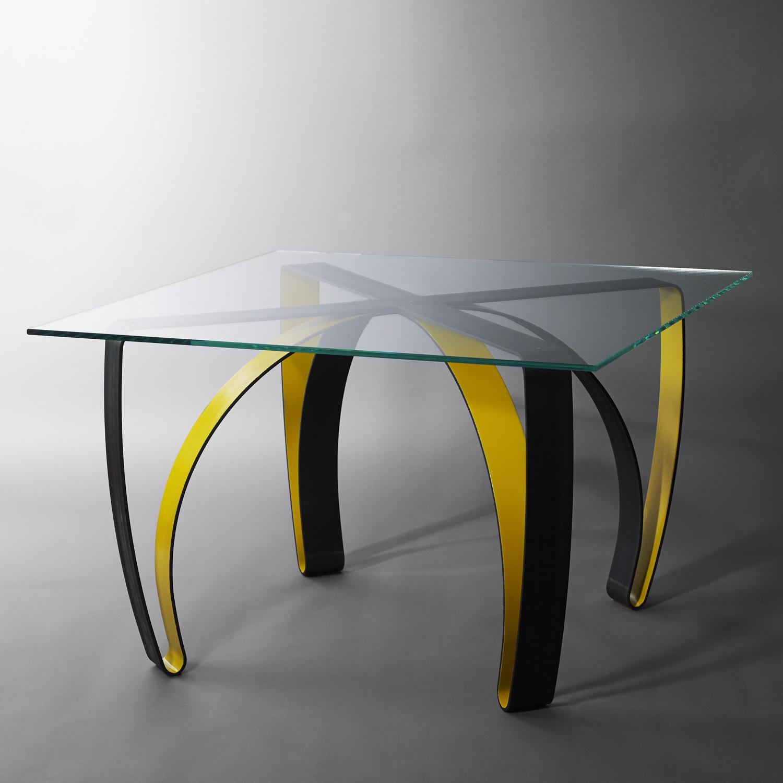 table haute acier et verre cocosteel